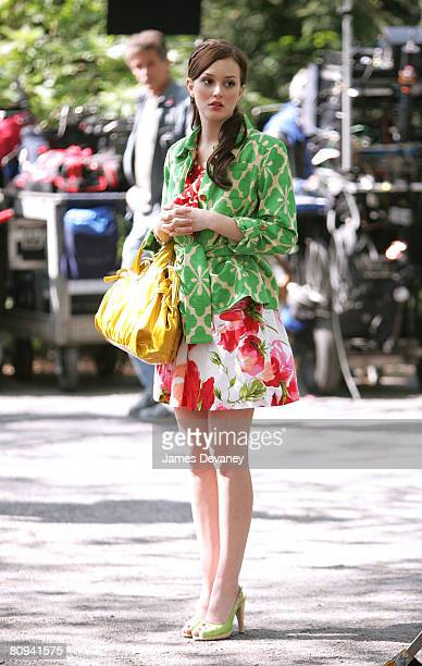 Actress Leighton Meester films on the set of 'Gossip Girl' on April 30 2008 in New York City