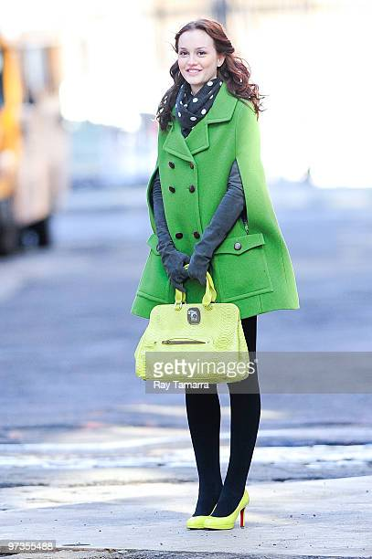 Actress Leighton Meester films scene at the 'Gossip Girl' film set in Dumbo on March 01 2010 in New York City