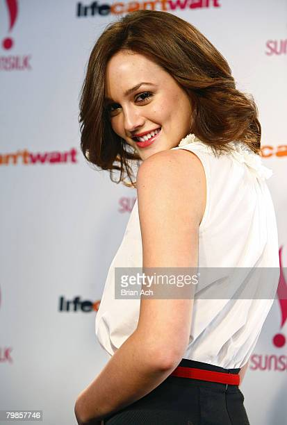 Actress Leighton Meester introduces the Sunsilk Life Can't Wait Campaign on Military Island in Times Square Manhattan on February 19 in New York City