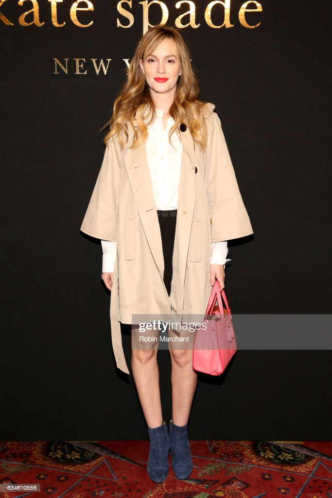 Actress Leighton Meester poses at kate spade new york Spring 2017 Fashion Presentation at Russian Tea Room on February 10, 2017 in New York City.