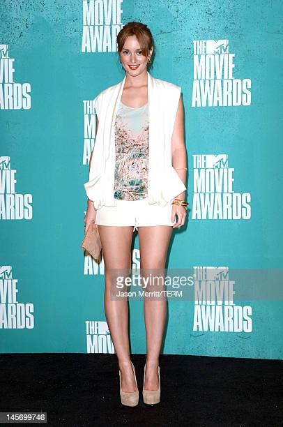 Actress Leighton Meester poses in the press room during the 2012 MTV Movie Awards held at Gibson Amphitheatre on June 3 2012 in Universal City...