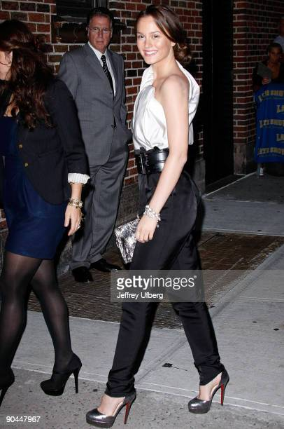 Actress Leighton Meester visits Late Show with David Letterman at the Ed Sullivan Theater on September 8 2009 in New York City