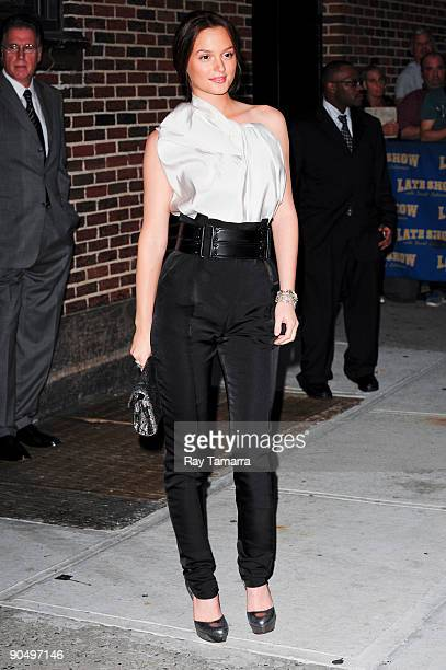 Actress Leighton Meester visits the Late Show with David Letterman at the the Ed Sullivan Theater on September 8 2009 in New York City