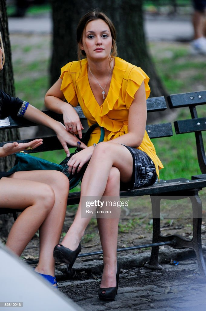 Actress Leighton Meester waits between takes at the 'Gossip Girl' movie set in Central Park on July 27, 2009 in New York City.