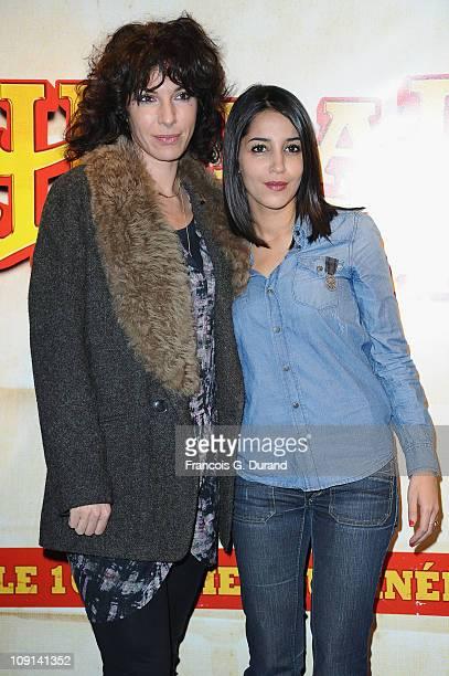 Actress Leila Bekhti and Anne De Petrini attend the 'Halal Police D'Etat' Paris Premiere at UGC Cine Cite Bercy on February 15 2011 in Paris France