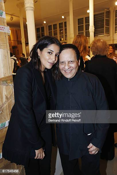 Actress Leila Bekhti and Designer Azzedine Alaia attend the Azzedine Alaia Fashion Show at Azzedine Alaia Gallery on October 23 2016 in Paris France