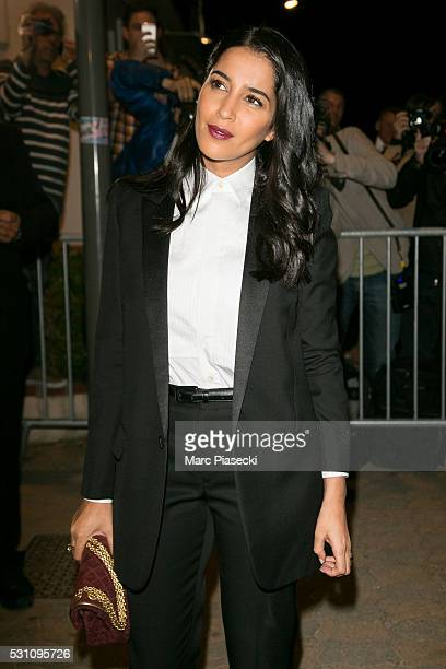 Actress Leila Bekhti arrives to attend the 'Vanity Fair and Chanel' party during the annual 69th Cannes Film Festival at 'Tetou' restaurant on May 12...