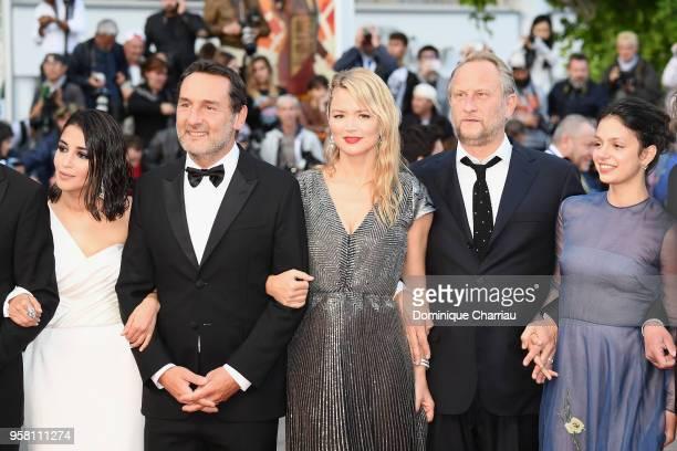 Actress Leila Bekhti director Gilles Lellouche actors Virginie Efira Benoit Poelvoorde and Noee Abita attend the screening of Sink Or Swim during the...