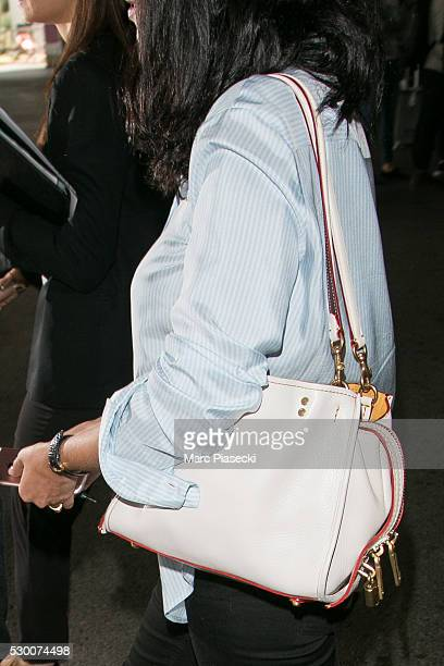 Actress Leila Bekhti handbag detail arrives at Nice airport during the annual 69th Cannes Film Festival at Nice Airport on May 10 2016 in Nice France