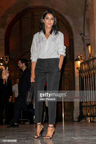 Actress Leila Bekhti is seen arriving at the Longchamp 70th Anniversary Celebration at Opera Garnier on September 11 2018 in Paris France
