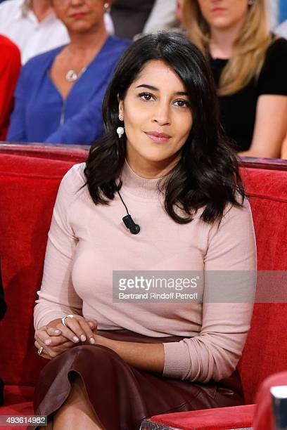 Actress Leila Bekhti presents the Movie 'Nous trois ou rien' during the 'Vivement Dimanche' French TV Show at Pavillon Gabriel on October 20 2015 in...