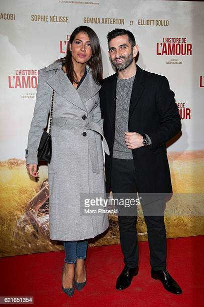 Actress Leila Boumedjane and Manouchehr Tabib aka 'Kheiron' attend the 'L'Histoire de l'Amour' Premiere at Gaumont Capucines on November 7 2016 in...