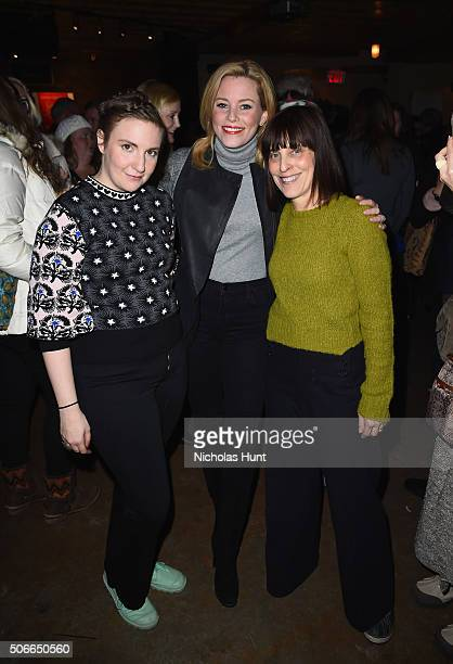 Actress Lena Dunham actress Elizabeth Banks and director at Planned Parenthood Federation of America Caren Spruch attend the Lena Dunham and Planned...