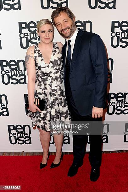Actress Lena Dunham and actor Judd Apatow attend Pen Center USA's 24th Annual Literary Awards Festival at the Beverly Wilshire Four Seasons Hotel on...
