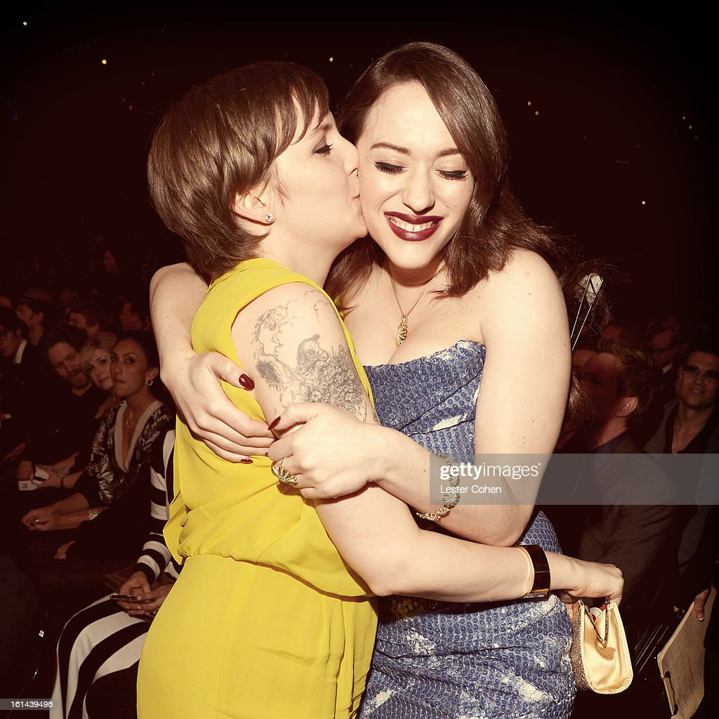 Actress Lena Dunham and actress Kat Dennings attend the 55th Annual GRAMMY Awards at STAPLES Center on February 10, 2013 in Los Angeles, California.