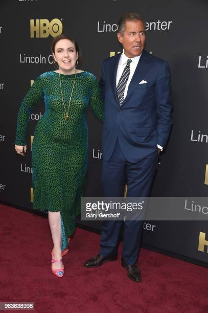 Actress Lena Dunham and honoree Chairman CEO of HBO Richard Plepler attend the 2018 Lincoln Center American Songbook gala honoring HBO's Richard...