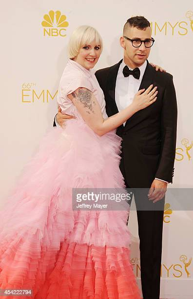 Actress Lena Dunham and Jack Antonoff arrive at the 66th Annual Primetime Emmy Awards at Nokia Theatre L.A. Live on August 25, 2014 in Los Angeles,...