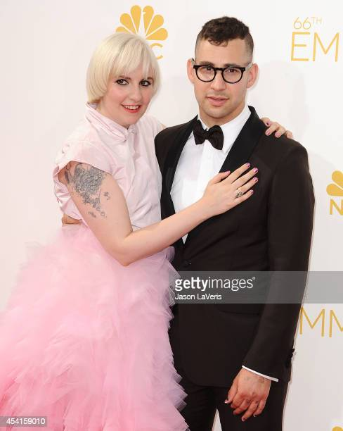 Actress Lena Dunham and Jack Antonoff attend the 66th annual Primetime Emmy Awards at Nokia Theatre L.A. Live on August 25, 2014 in Los Angeles,...