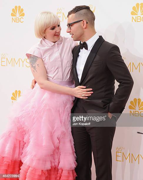 Actress Lena Dunham and musician Jack Antonoff arrive at the 66th Annual Primetime Emmy Awards at Nokia Theatre LA Live on August 25 2014 in Los...
