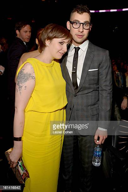 Actress Lena Dunham and musician Jack Antonoff attend the 55th Annual GRAMMY Awards at STAPLES Center on February 10 2013 in Los Angeles California