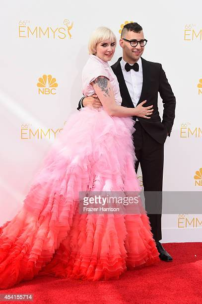 Actress Lena Dunham and musician Jack Antonoff attend the 66th Annual Primetime Emmy Awards held at Nokia Theatre L.A. Live on August 25, 2014 in Los...