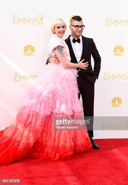 Actress Lena Dunham and musician Jack Antonoff attend the 66th Annual Primetime Emmy Awards held at Nokia Theatre LA Live on August 25 2014 in Los...