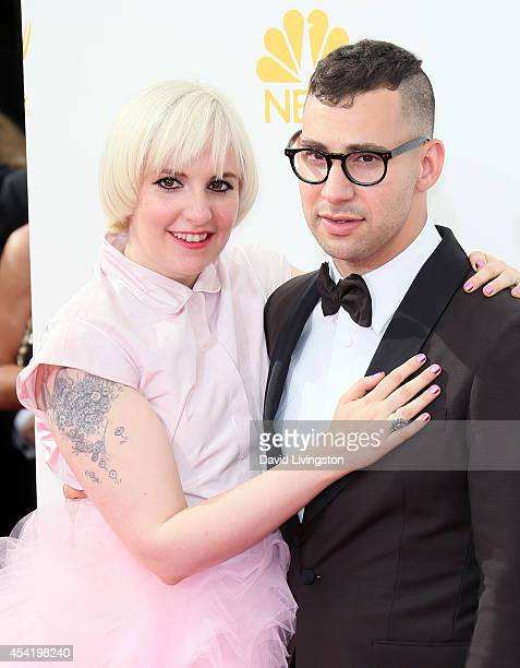 Actress Lena Dunham and musician Jack Antonoff attend the 66th Annual Primetime Emmy Awards at the Nokia Theatre L.A. Live on August 25, 2014 in Los...