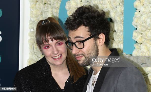 "Actress Lena Dunham and musician Jack Antonoff attend the the New York premiere of the sixth and final season of ""Girls"" at Alice Tully Hall, Lincoln..."