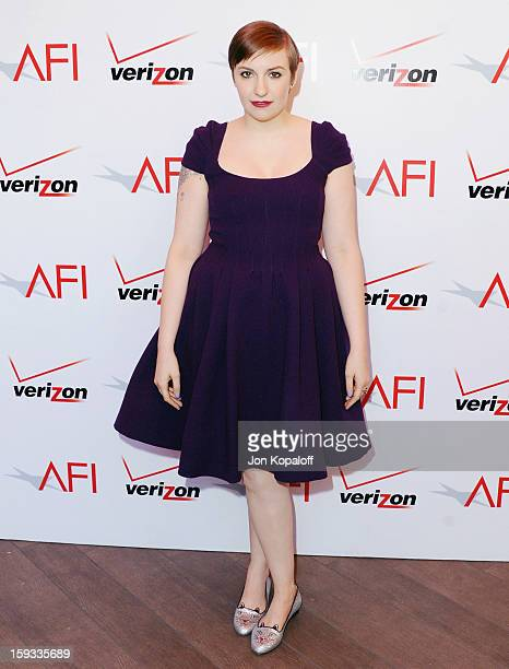 Actress Lena Dunham arrives at the 2012 AFI Awards Luncheon on January 11, 2013 in Beverly Hills, California.