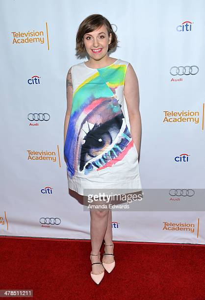 Actress Lena Dunham arrives at The Television Academy Presents An Evening With Girls event at the Leonard H Goldenson Theatre on March 13 2014 in...