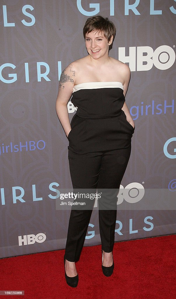 Actress Lena Dunham attends Cinema Society presents the world premiere of 'Girls' season 2 at NYU Skirball Center on January 9, 2013 in New York City.
