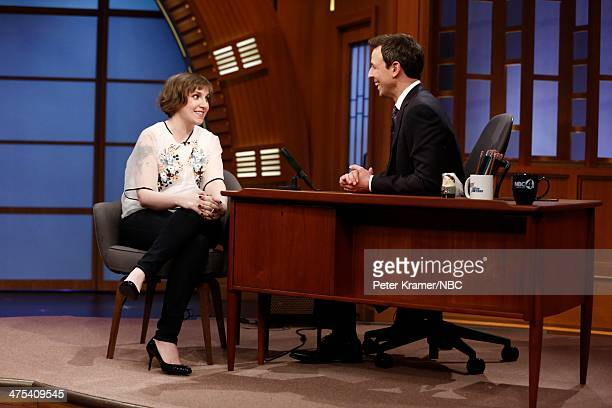 Actress Lena Dunham is interviewed by host Seth Meyers during Late Night with Seth Meyers on February 27 2014 in New York City