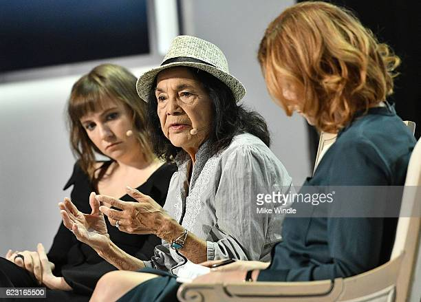 Actress Lena Dunham Labor Leader and Civil Rights Activist Dolores Huerta and Marketplace Weekend Host Lizzie O'Leary attend Glamour Women Of The...