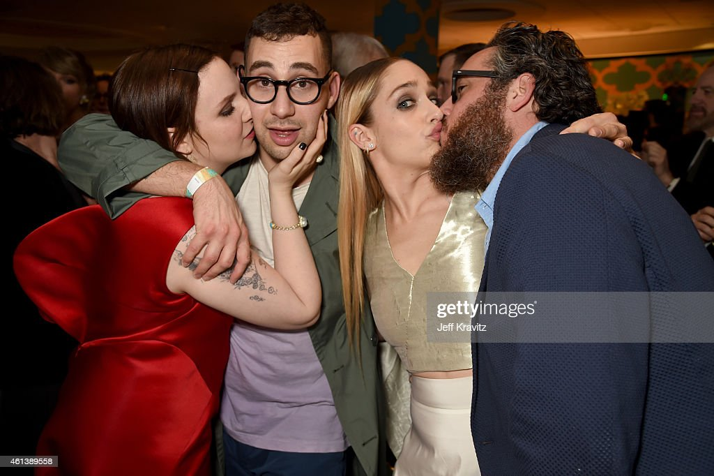 Actress Lena Dunham, musician Jack Antonoff, actress Jemima Kirke, and Mike Mosberg attend HBO's Official Golden Globe Awards After Party at The Beverly Hilton Hotel on January 11, 2015 in Beverly Hills, California.