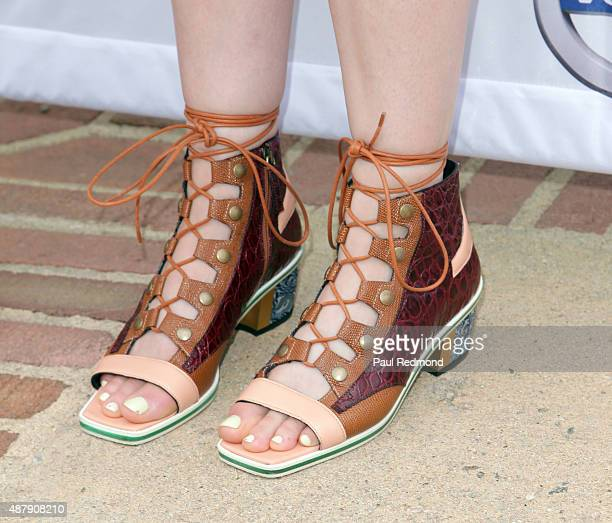 Actress Lena Dunham, shoe detail, attends the 6th Annual L.A. Loves Alex's Lemonade at UCLA on September 12, 2015 in Los Angeles, California.