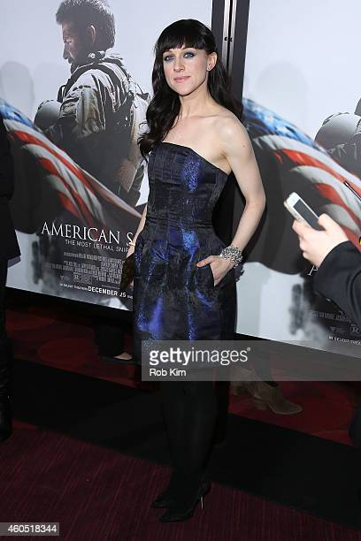 Actress Lena Hall arrives at the American Sniper New York Premiere at Frederick P Rose Hall Jazz at Lincoln Center on December 15 2014 in New York...