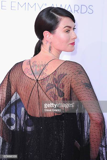 Actress Lena Headey arrives at the 64th Primetime Emmy Awards at Nokia Theatre LA Live on September 23 2012 in Los Angeles California