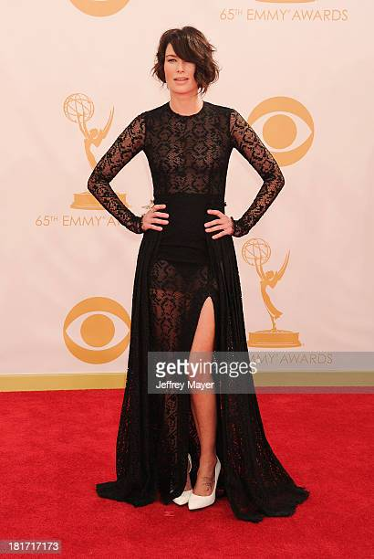 Actress Lena Headey arrives at the 65th Annual Primetime Emmy Awards at Nokia Theatre LA Live on September 22 2013 in Los Angeles California
