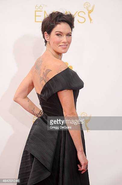 Actress Lena Headey arrives at the 66th Annual Primetime Emmy Awards at Nokia Theatre L.A. Live on August 25, 2014 in Los Angeles, California.