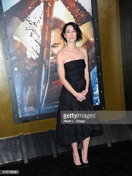 Actress Lena Headey arrives for the Premiere Of Warner Bros Pictures And Legendary Pictures' '300 Rise Of An Empire' held at TCL Chinese Theatre on...