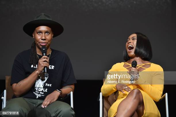 Actress Lena Waithe and actress Angela Bassett attend the panel discussion for Netflix's 'Master of None' For Your Consideration Event at the Saban...