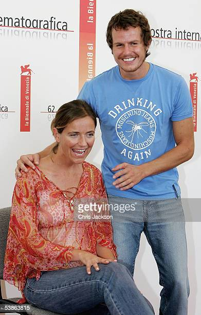 Actress Leonor Silveira and actor Ricardo Trepa pose at the photo call for Espelho Magico as part of the 62nd Venice Film Festival on September 1...