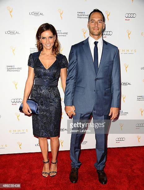 Actress Leonor Varela and actor Lucas Akoskin attend the Television Academy's celebration for the 67th Emmy Award nominees for outstanding...