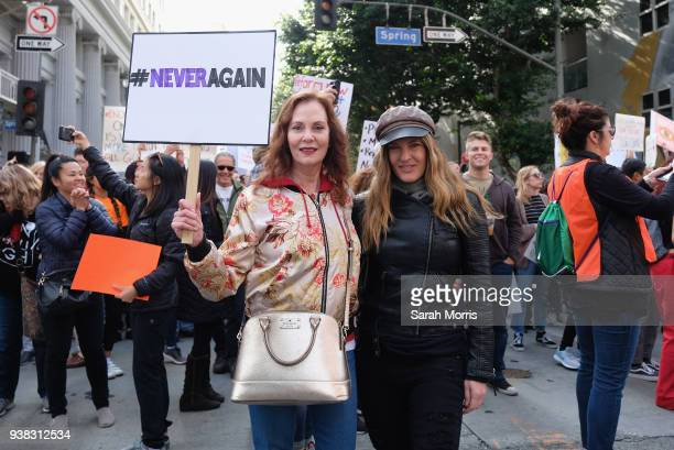 Actress Lesley Ann Warren and her daughter participate in the March for Our Lives Los Angeles rally on March 24 2018 in Los Angeles California More...