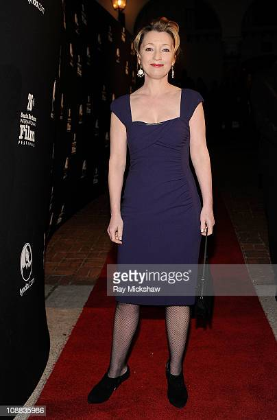 Actress Lesley Manville arrives on the red carpet before the Virtuosos Award Tribute at the Lobero Theater on February 4 2011 in Santa Barbara...
