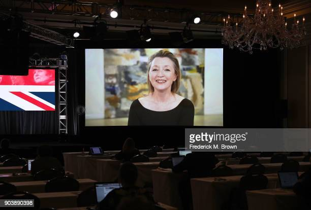 Actress Lesley Manville of the television show 'Mum' speaks via satellite feed during the BritBox portion of the 2018 Winter Television Critics...