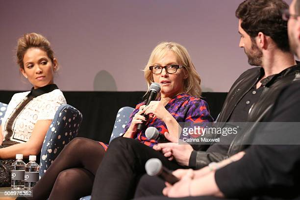 Actress LesleyAnn Brandt Actress Rachael Harris Actor Tom Ellis and moderator Damian Holbrook speak at 'Lucifer' event during aTVfest 2016 presented...