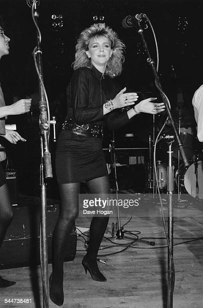 Actress Leslie Ash making her debut as a pop star on stage at the Hippodrome London May 30th 1986