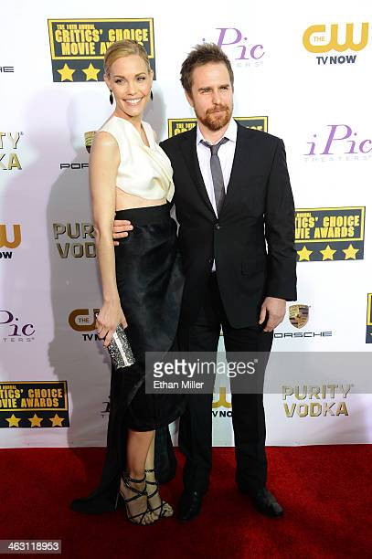 Actress Leslie Bibb and actor Sam Rockwell attend the 19th Annual Critics' Choice Movie Awards at Barker Hangar on January 16 2014 in Santa Monica...