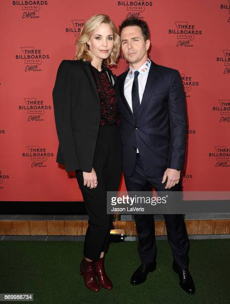 Actress Leslie Bibb and actor Sam Rockwell attend the premiere of 'Three Billboards Outside Ebbing Missouri' at NeueHouse Hollywood on November 3...